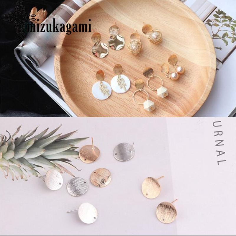 Fashionable Concave Round Ear Studs 10pcs/lot For DIY Drop Earrings Jewelry Making Accessories
