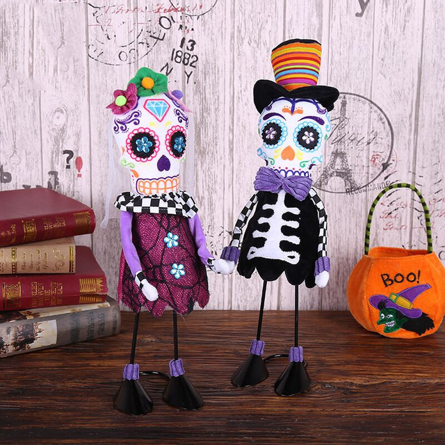 Halloween Standing Skull Soft Cloth Dolls Toy Creative Ornamentst Stuffed Filling Cotton Cloth Dolls Halloween Home Party Props