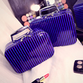 Real Special Offer Stripe Patent Leather Trunk Neceser Fashion Cosmetic Bag Multi-function Make Up Box Travel With Mirror Makeup