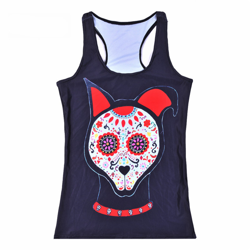 Tops Summer Women' Tanks Cute Cat Head Skull Sleeveless Top Digtal Print Female Tank Tops Camisole Blusas S-xxxxl Numerous In Variety