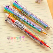 5 pcs/lot new cartoon multi-color ballpoint pen candy color 6 in 1 Creative cute penpressed oil personalized