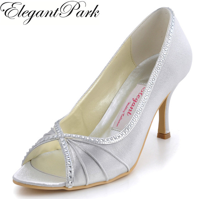 91b9b8aaad0 EP11032 woman shoes peep toe silver white high heel wedding bridal pumps  rhinestones satin lady female party evening shoes blue-in Women's Pumps  from ...