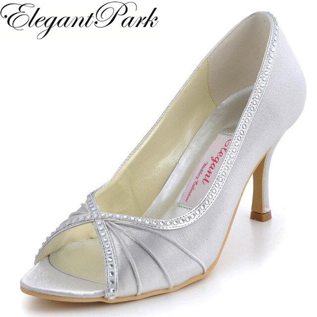 0f8f0d2c1 Mulher sapatos peep toe EP11032 prata branco de salto alto bombas de noiva  casamento strass cetim