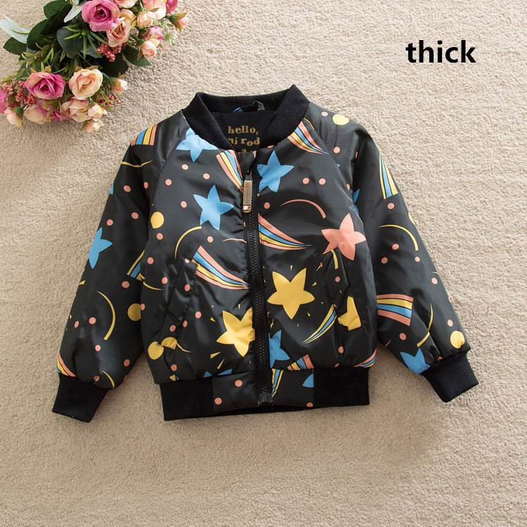 2016 Autumn Winter New Boy Girl Coat Starry Sky Black Fashion quilted Thicken Jacket Children Clothes WT186