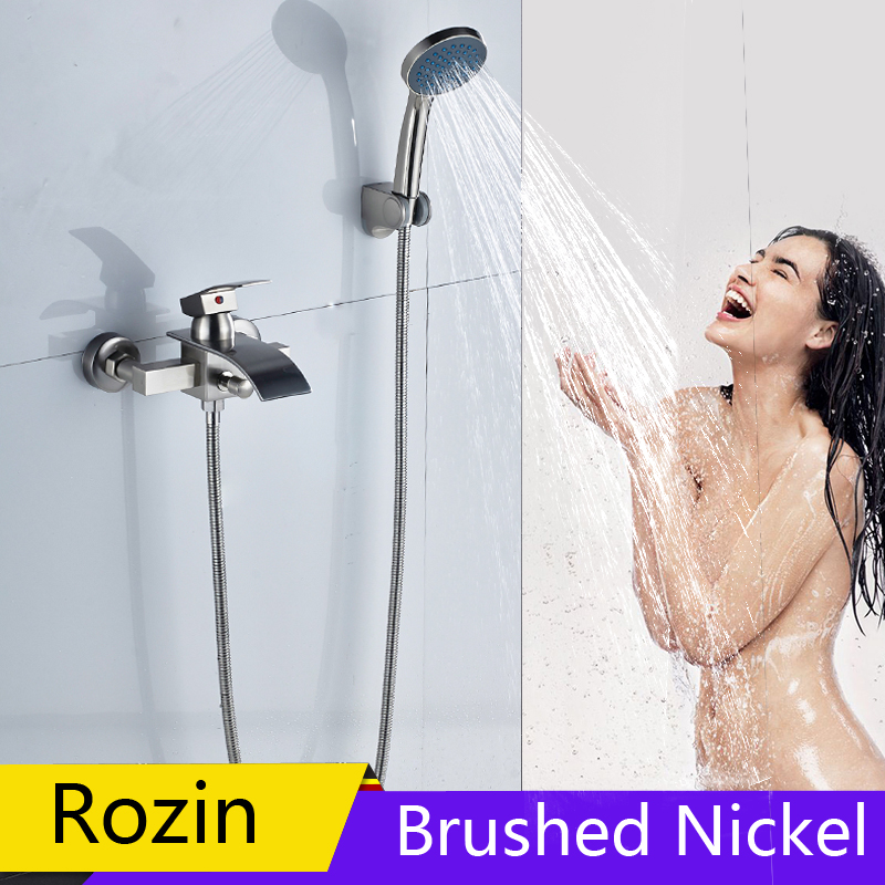 Brushed Nickel Shower Faucet Wall Mounted Waterfall Bathtub Faucet Handheld Bathroom Shower Mixer Tap with Bracket цены