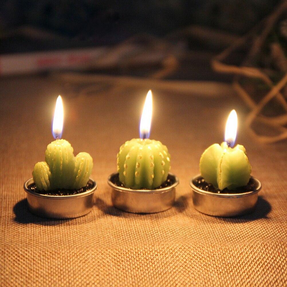 6pcs set artificial green plants cactus grapes candle for Decoration candles