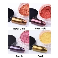 1 box Metallic Mirror Nail Glitter Product Long Lasting Gold Purple Red Rose Color Powder Dust decoration