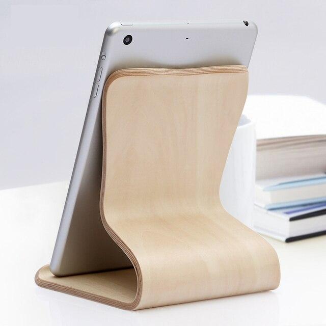 Madera minimalismo de montaje/soporte/stand para ipad pro mini, Android, Samsung, Kindle y Otros Tablets