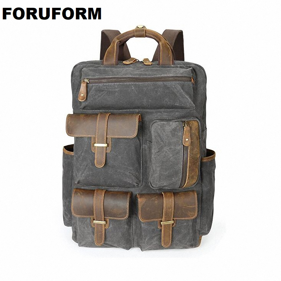 Men Laptop Backpack Rucksack Waterproof Canvas School Bag Travel Backpacks Teenage Male Bagpack Computer Knapsack Bags LI-2080 men laptop backpack 15 inch rucksack canvas school bag travel backpacks for teenage male notebook bagpack computer knapsack bags