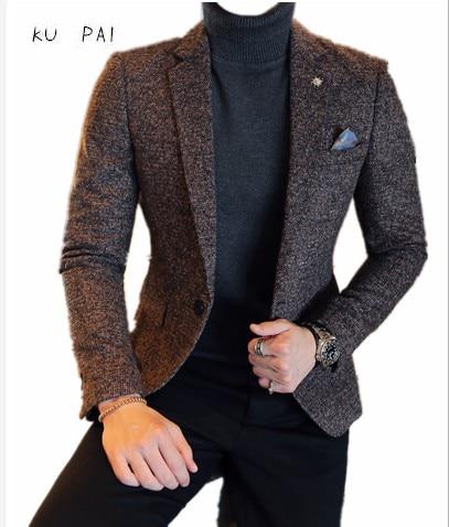 2017 г. осенние и зимние новые корейские узкие прилив мужчин костюм в британском стиле высокого класса ткани Повседневная Мужская пиджак