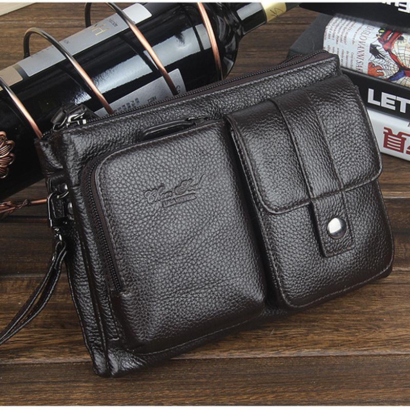 Genuine Leather small messenger bags for men crossbody shoulder bag male Phone clutch bag Belt waist bags man Purse pocket 2018