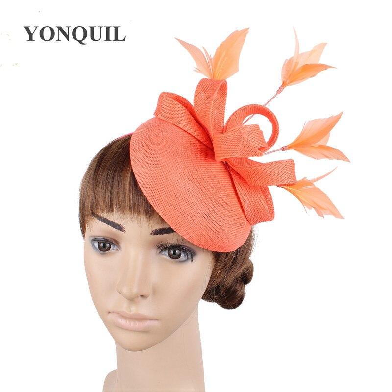Новые женские шляпки с сеткой цвета хаки, модные женские шляпы с лентами для свадебной вечеринки, красивые аксессуары SYF570 - Цвет: Кораллово-Красный
