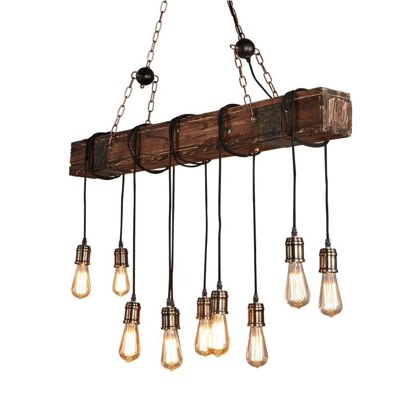 Antique Industrial Retro Wood E27 Ceiling Light Creative LOFT Bar Suspension Luminaire Vintage Living Room Lights Lustre