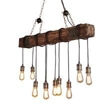 Antiguo Industrial retro de madera E27 luz de techo Creative LOFT Bar suspensión luminaria Vintage living lámparas de habitación lustre