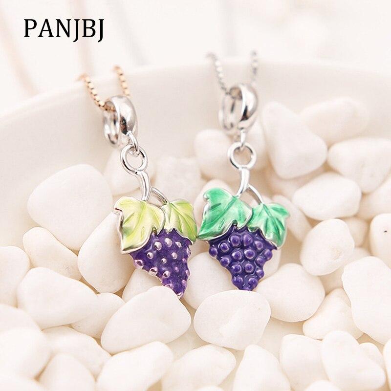 925 Sterling Silver Green Enamel Grapes Pendant