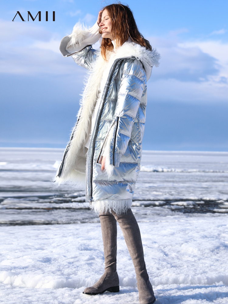 Amii Minimalist 90% White   Down   Jacket 2018 Winter Zipper Straight New Bright Solid Fur Hooded Long   Down     Coat   Cool Puffer Jacket