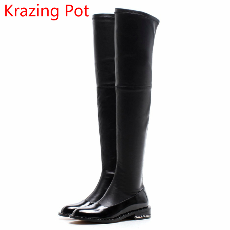 2018 Superstar Genuine Leather Gladiator Round Toe Thigh High Boots Metal Chains Streetwear Zipper Sweet Over-the-knee Boots L86 new arrival superstar genuine leather chelsea boots women round toe solid thick heel runway model nude zipper mid calf boots l63