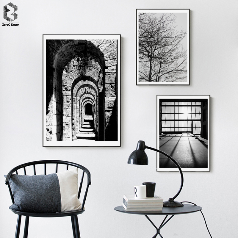 Monochrome Toile Posters et Affiches Vintage Mur Art Peintures Image Nordique Décoratif pour le Salon Décor À La Maison