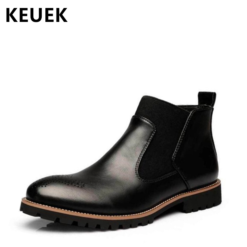 British style Men Chelsea Boots Split Leather Slip On Winter Snow boots Male Tooling shoes Autumn