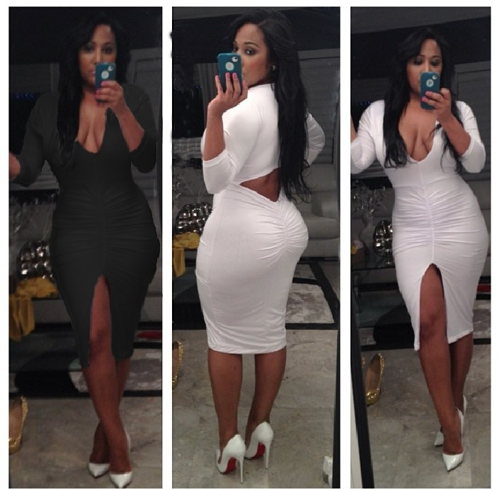 New Women Celebrity Sexy V Neck Cut Out Back Long Sleeve Mesh Insert Dress  Bandage Midi Dress Night Club Pencil Dress 4073 b3cdc34cf