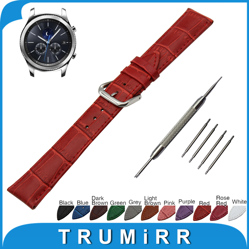 22mm Croco Genuine Leather Watch Band for Samsung Gear S3 Classic / Frontier Stainless Pin Buckle Strap Wrist Belt Bracelet france genuine leather watchband for samsung gear s3 classic frontier r760 770 double color watch band quick release wrist strap