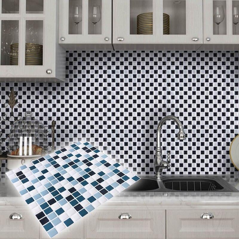 Diy papel de parede da cozinha da telha de mosaico 3d for Mosaico adesivo 3d
