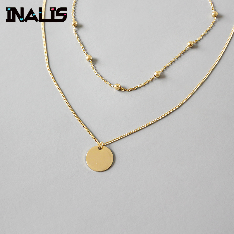 INALIS Punk Hot Selling New Design 925 Sterling Silver Double Link Chain Necklace with Round Pendant Gold Plated Collar WomenINALIS Punk Hot Selling New Design 925 Sterling Silver Double Link Chain Necklace with Round Pendant Gold Plated Collar Women