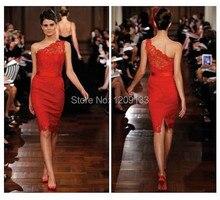 Neue 2015 Mode kurze partei kleider roter teppich spitze kleid reizvolle ein-schulter mutter der braut kleider vestido de festa