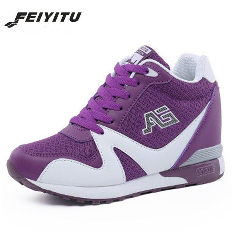 FeiYiTu 2018 New Ladies White High Heel Wedge Sneakers Women Platform Shoes Female Gumshoe Basket Femme Tenis Feminino 34 39