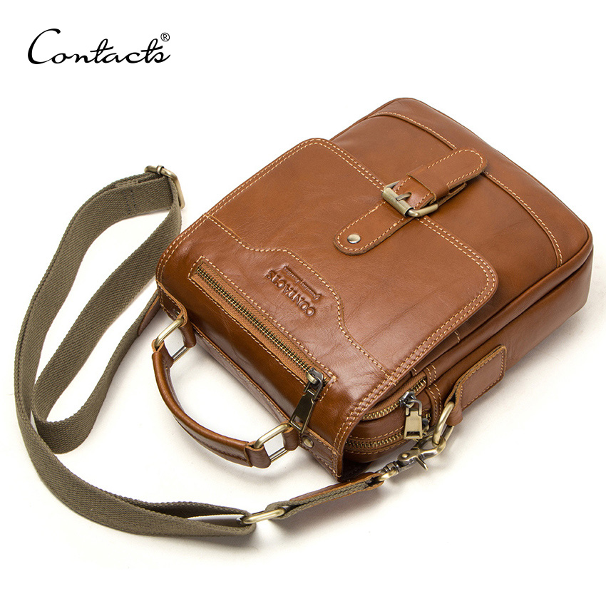 CONTACT'S 100% Genuine Leather Messenger Bags Men High Quality Handbag Bolsas Male Travel Crossbody Shoulder Bag For Ipad Mini