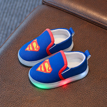 Kids Spiderman Lighted Shoes with Light Baby Canvas Sneakers LED  light for Boys Girls Chaussure Enfant Shoe