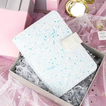 2018 nouveau Design Kinbor A6 arc-en-ciel brillant voyages Journal boîte cadeau Journal livre paillettes tissu planificateur bouton carnet