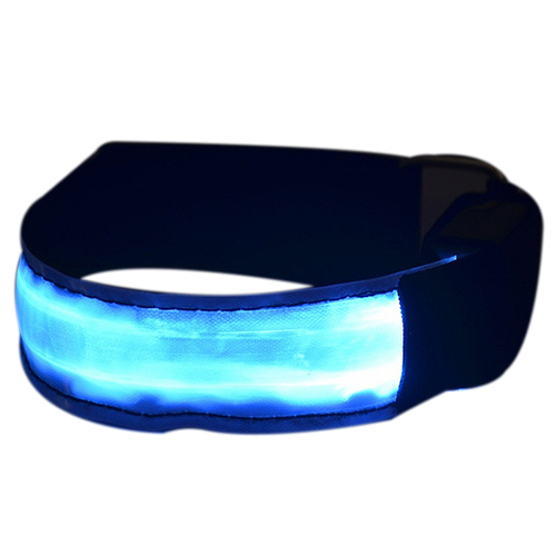 Светодиодный безопасности Светоотражающие ремень оснастки Wrap повязку работает браслет (батареи не включены) синий