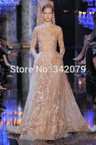 Ph11205 long beige dress tulle fully embroidered silk for Beige dress for wedding guest