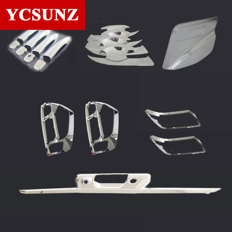 2014-2017 Suitable Nissan Navara 2017 Np300 Chrome kits Accessories For Nissan Navara Frontier 2016 D23 Decorative Parts Ycsunz 2014 18 car wind deflector awnings shelters for navara np300 d23 black window deflector guard fit for nissan navara np300