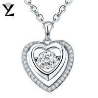 Romantic Love 925 Sterling Silver Heart Pendant AAA Crystal Dancing CZ Diamond Necklace Metal Jewelry For
