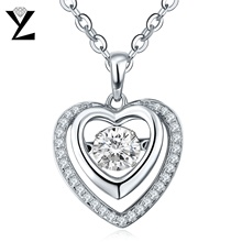YL Heart Necklace 925 Sterling Silver Pendant with Dancing Natural Topaz Necklaces for Women Fine Jewelry Best Friends Pendant