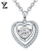YL Majątek 925 Sterling Silver Serce Naszyjnik Taniec Naturalne Topaz Wisiorek Kobiet Biżuterii Walentynki Prezent