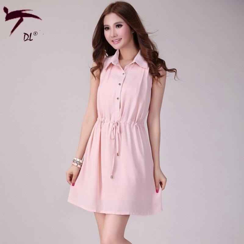 Sleeveless chiffon shirt dress summer pink office dress for Sleeveless dress shirt womens