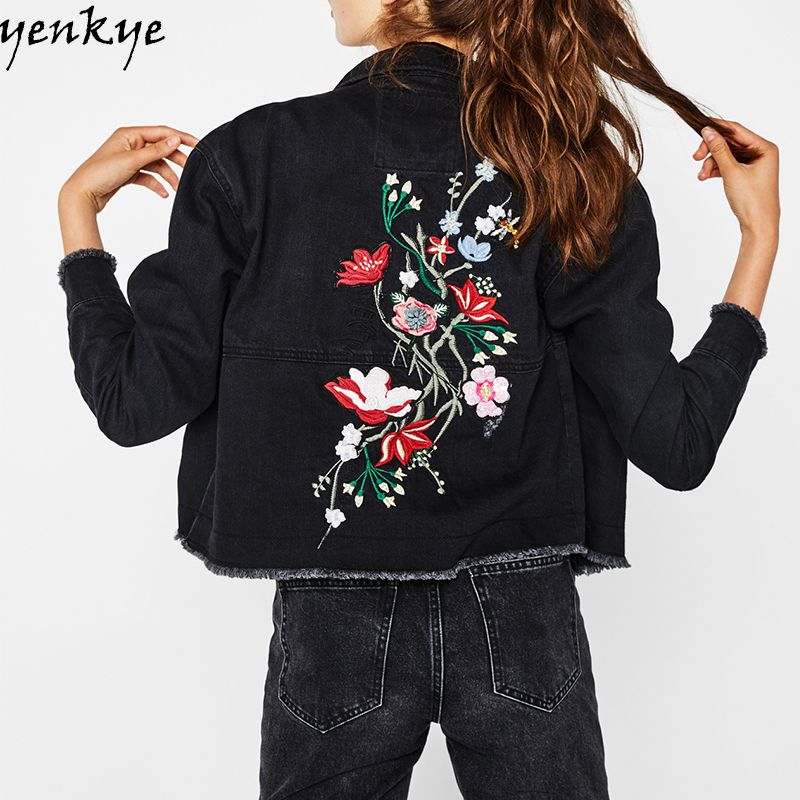Streetwear Women Floral Embroidery Black Denim Jacket Long Sleeve Lapel Single-breasted Short Coat Frayed Edge Fashion Outerwear