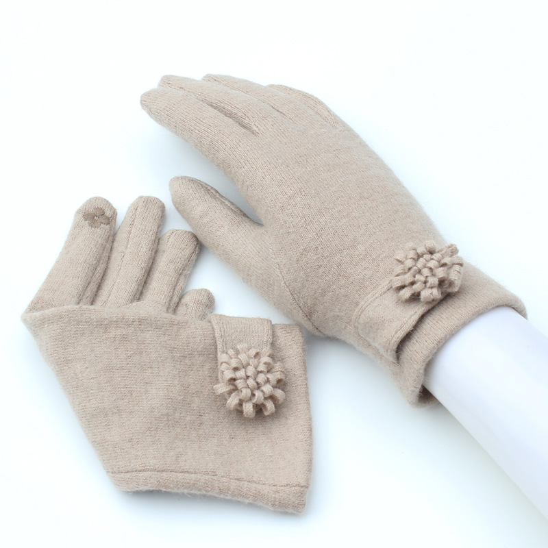 New Autumn Winter Fashion Ladies Cashmere Gloves Female Wool Mitten Gloves Flower All Match Women Beige Gloves