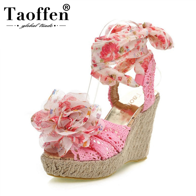 TAOFFEN Women High Heel Sandals Lace Up Open Toe Mixed Color Lace Flower Sweety Women Shoes For Party Footwear 34-39TAOFFEN Women High Heel Sandals Lace Up Open Toe Mixed Color Lace Flower Sweety Women Shoes For Party Footwear 34-39
