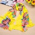 2017 женщины распечатать цветочные шарф Подсолнухи шарф 160*50 см шарфы оптовая бархат шифон шарф новые приходят
