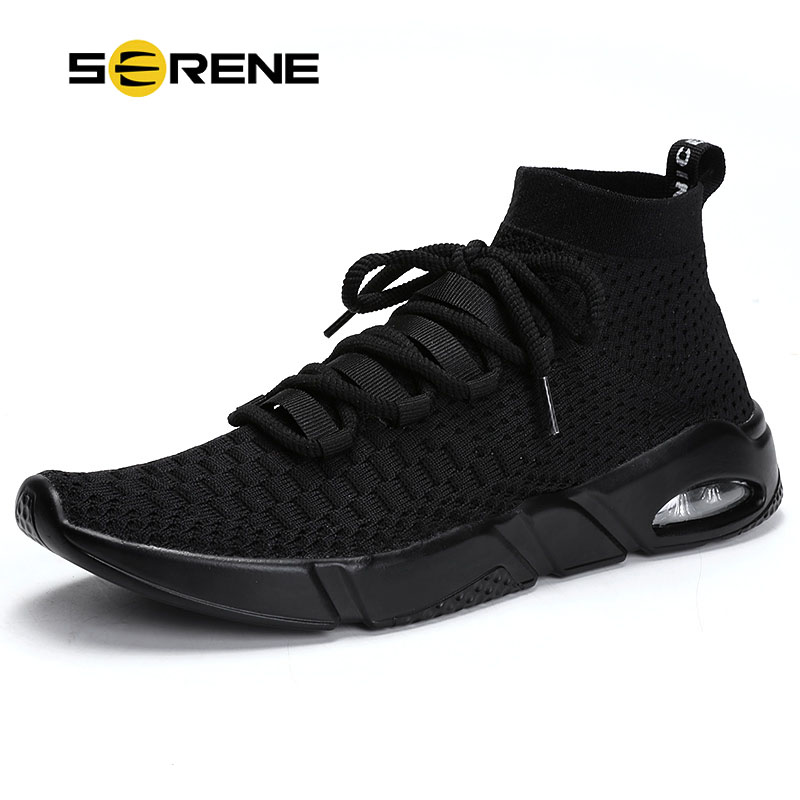 SERENE Fashion Mens Shoes Big Size 39-46 Fabric Air Mesh Sneakers Men Slip-On Casual Black White Footwear Spring High Top Shoe