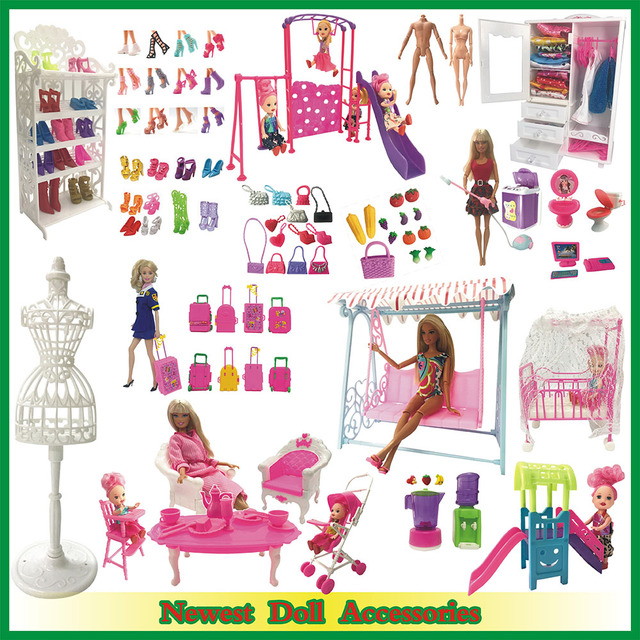 NK Misturar Acessórios Da Boneca Sapatos Rack De Móveis Teatro Mini Brinquedo Do Jogo Do Balanço Para Boneca Barbie Kelly Boneca Caçoa o Presente DIY brinquedos JJ