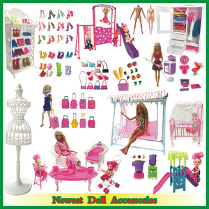 NK Mix Doll Accessories Shoes Rack Playhouse Furniture Mini Swing Play Toy For Barbie Doll Kelly Doll Kids Gift DIY Toys JJ(China)