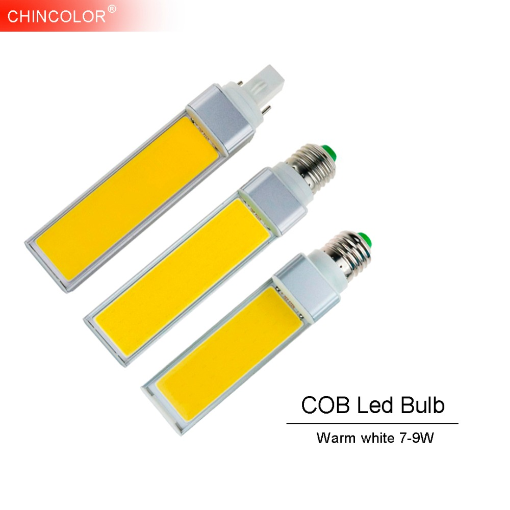 E27 Led Bulb Corn Bulb Lamp E14 G24 G23 7W-12W Warm white Emitting Light 110V 220V Horizontal Plug Light COB Spotlight TR free shipping 30 pcs g24 g23 e27 12w smd 5050 60 led pl corn bulb led plc droplight 930lm led transverse inserted light