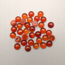 Di modo 50 pz/lotto red onyx fascino naturale di pietra 8mm rotonda borda cabochon per L'anello dei monili Orecchino accessori Spilla no foro(China)