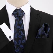 Floral Dot Slim 7.5cm Business Silk Tie Sets Men Accessories Hanky Handkerchief Cufflinks Necktie Ties for Men Gravatas