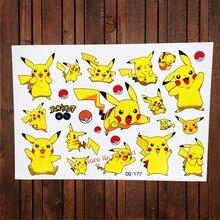 Pokemon Go Waterproof Tattoo Stickers Children Fake Flash Tattoo For Kids BOdy Art Cartoon Pikachu Harajuku Temporary Tattoo